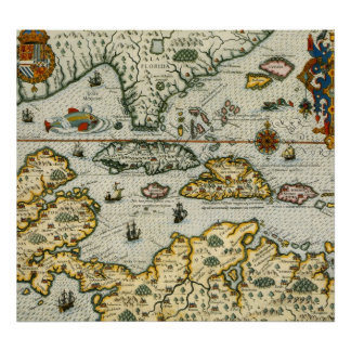 Vintage Map of The Caribbean (1594) Poster