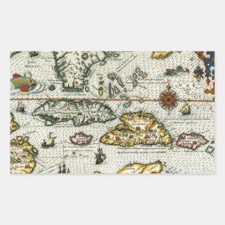 Vintage Map of The Caribbean (1594) Rectangular Sticker