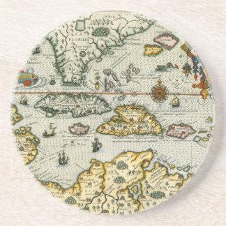 Vintage Map of The Caribbean (1594) Sandstone Coaster