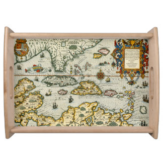 Vintage Map of The Caribbean (1594) Serving Tray