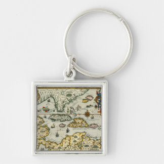 Vintage Map of The Caribbean (1594) Silver-Colored Square Keychain