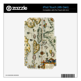 Vintage Map of The Caribbean (1594) iPod Touch 4G Skins