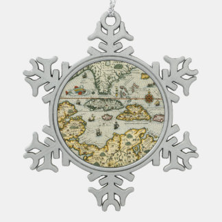 Vintage Map of The Caribbean (1594) Snowflake Pewter Christmas Ornament