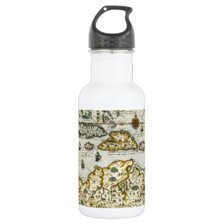 Vintage Map of The Caribbean (1594) Stainless Steel Water Bottle