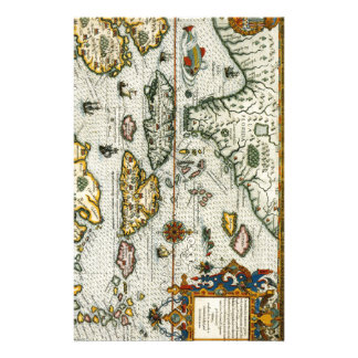Vintage Map of The Caribbean (1594) Customized Stationery