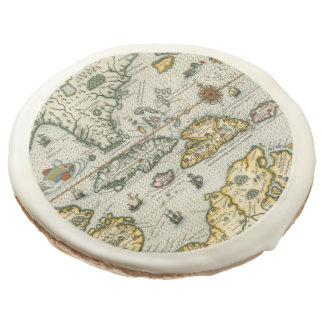 Vintage Map of The Caribbean (1594) Sugar Cookie