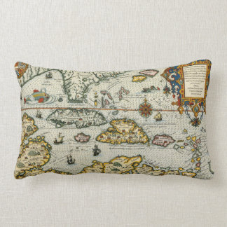 Vintage Map of The Caribbean (1594) Throw Pillow