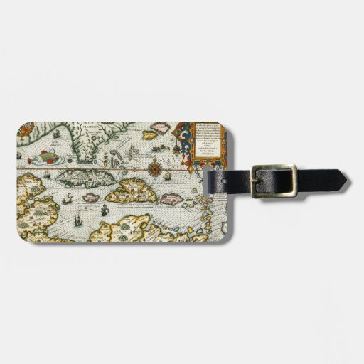Vintage Map of The Caribbean (1594) Travel Bag Tag