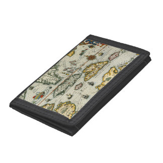 Vintage Map of The Caribbean (1594) Tri-fold Wallets