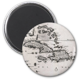 Vintage Map of The Caribbean (1696) 2 Inch Round Magnet