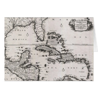Vintage Map of The Caribbean (1696) Greeting Card