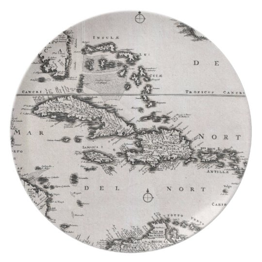 Vintage Map of The Caribbean (1696) Melamine Plate
