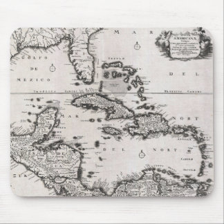 Vintage Map of The Caribbean (1696) Mouse Pad