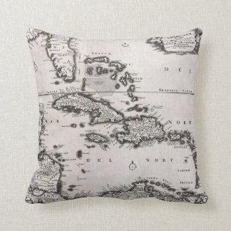 Vintage Map of The Caribbean (1696) Throw Pillow