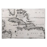Vintage Map of The Caribbean (1696) Place Mats