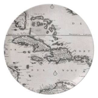 Vintage Map of The Caribbean 1696 Party Plate