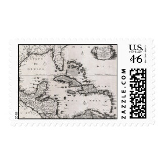 Vintage Map of The Caribbean 1696 Stamps