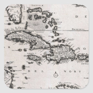 Vintage Map of The Caribbean (1696) Square Sticker