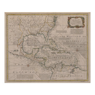 Vintage Map of The Caribbean (1720) Poster