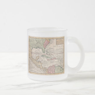 Vintage Map of the Caribbean (1732) 10 Oz Frosted Glass Coffee Mug