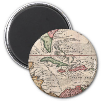 Vintage Map of the Caribbean (1732) 2 Inch Round Magnet