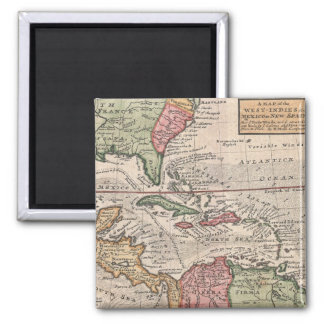 Vintage Map of the Caribbean (1732) 2 Inch Square Magnet