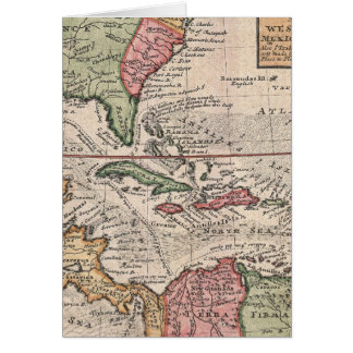 Vintage Map of the Caribbean (1732) Card