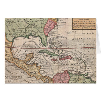 Vintage Map of the Caribbean (1732) Greeting Card