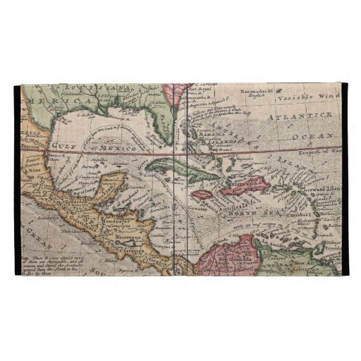 Vintage Map of The Caribbean (1732) iPad Folio Covers