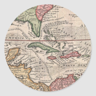 Vintage Map of the Caribbean (1732) Classic Round Sticker