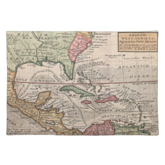 Vintage Map of the Caribbean (1732) Cloth Placemat