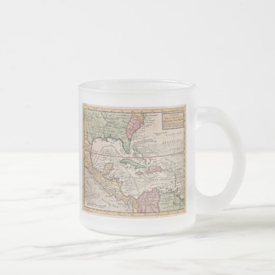 Vintage Map of the Caribbean (1732) Frosted Glass Coffee Mug