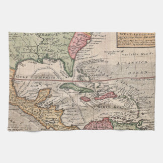 Vintage Map of The Caribbean (1732) Hand Towel