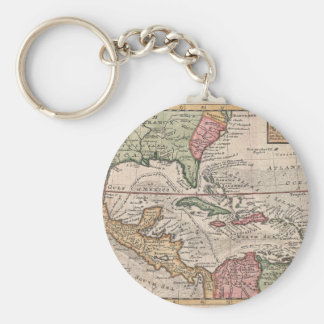 Vintage Map of the Caribbean 1732 Keychains