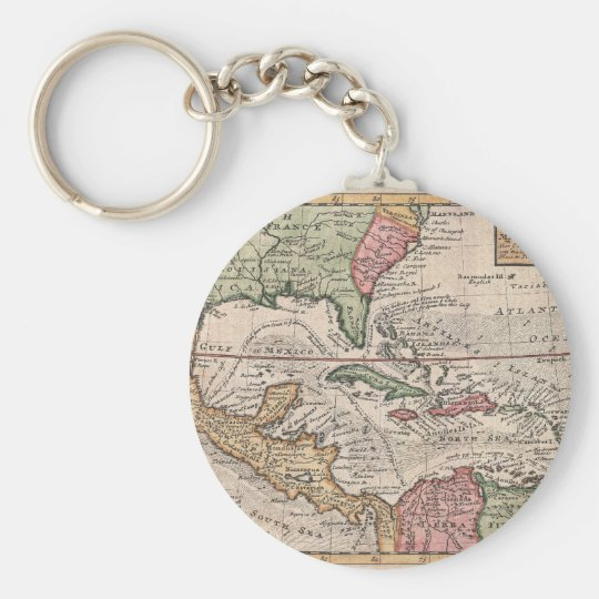 Vintage Map of the Caribbean (1732) Keychain
