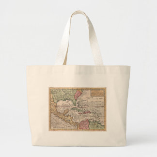 Vintage Map of the Caribbean (1732) Large Tote Bag