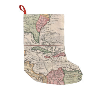 Vintage Map of The Caribbean (1732) Small Christmas Stocking