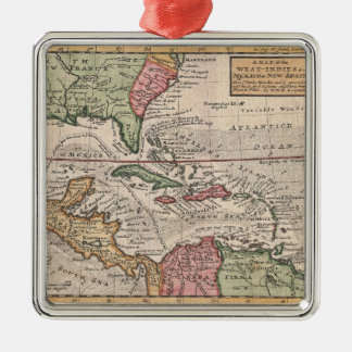 Vintage Map of The Caribbean (1732) Metal Ornament