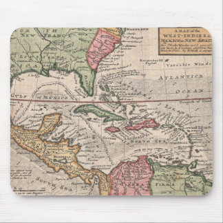 Vintage Map of the Caribbean (1732) Mouse Pad