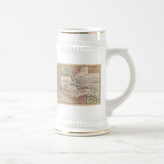Vintage Map of the Caribbean (1732) 18 Oz Beer Stein