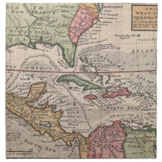 Vintage Map of the Caribbean (1732) Printed Napkin