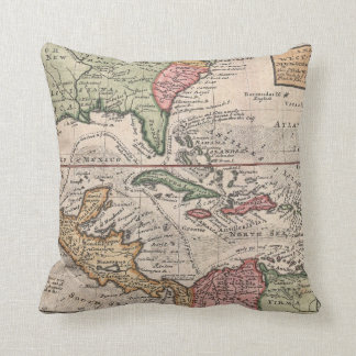 Vintage Map of the Caribbean (1732) Pillow