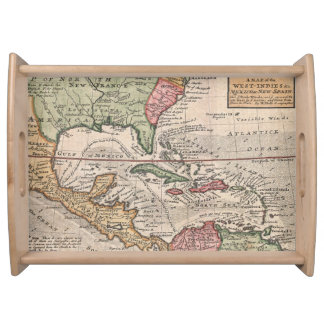 Vintage Map of The Caribbean (1732) Food Tray
