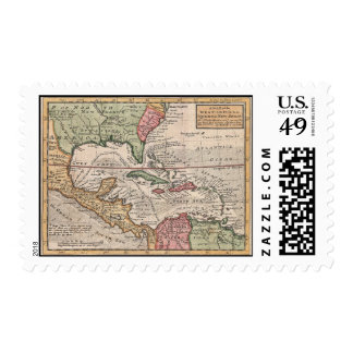 Vintage Map of the Caribbean (1732) Stamp