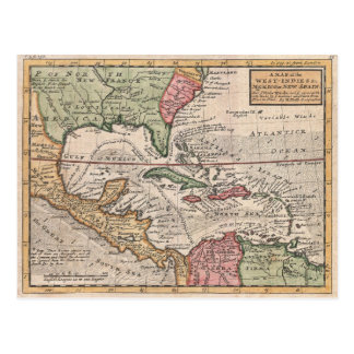 Vintage Map of the Caribbean (1732) Postcard