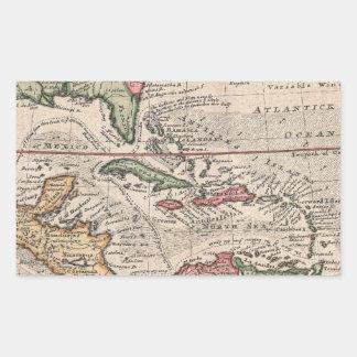 Vintage Map of the Caribbean (1732) Rectangular Sticker