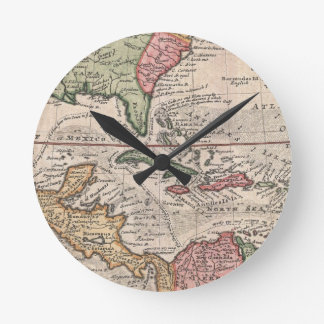 Vintage Map of The Caribbean (1732) Round Clock