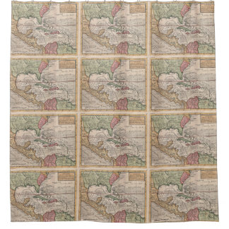 Vintage Map of the Caribbean (1732) Shower Curtain