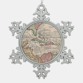 Vintage Map of The Caribbean (1732) Snowflake Pewter Christmas Ornament