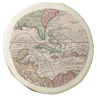 Vintage Map of The Caribbean (1732) Sugar Cookie